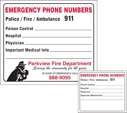 Images of our emergency numbers Refrigerator Magnet No. 372